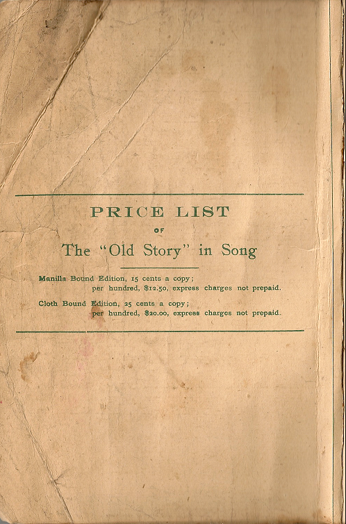 The Old Story in Song : Inside Front Cover