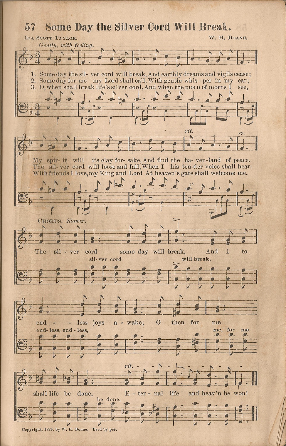 Historic Hymnals: Song: Some Day the Silver Cord Will ...
